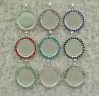 "20pcs 1 "" Round rhinestone Crystal Cameo setting DIY Blank Tray Necklace Pendant"