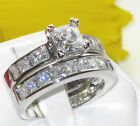 Size 11 V Engagement Ring WEDDING Band Ring SET White Stainless Steel LTK61206E