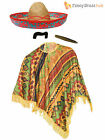 Mexican Poncho Mexico Fancy Dress Bandit Cowboy Stag Do Outfit + Accessories