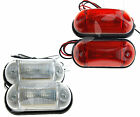 2 x 24V Car Truck Van Trailer LED Red Rear/White Front Maker Light Indicator