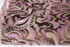 Brown pink wave flora silk brocade handmade decoration fabric sewing supplies