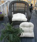 Set of 2 ~Tufted Universal U Wicker Chair Cushion~Choose from Solid Colors ~ USA