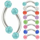2P Curved eyebrow ferido gem bar piercing jewelry rings steel 9CQJ-SELECT COLOR