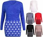 Womens Border Print Ladies Stretch Fluffy Knitted Long Jumper Sweater Tunic Top