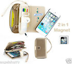 Gold Zip Purse Leather Case Cover For Apple iPhone 4S 4+Film