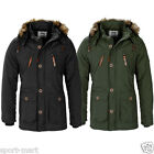 Mens Smith & Jones Fur Hooded Parka Coat Quilted Padded Miltary Jacket Size