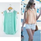 2014 Hot Sexy Casual Womens Sleeveless Button Chiffon Tops Shirt Blouse Vest New