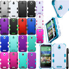 For HTC Desire 510 Impact TUFF HYBRID Rubber HARD Case Phone Cover + Pen