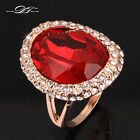 Exaggerated Big Red Rhinestone Ring 18K Rose Gold Plated Party Jewelry For Women