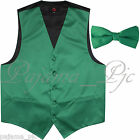 Emerald Green Men Vest Waistcoat and Straight Cut Bow Tie Suit / Tuxedo Wedding