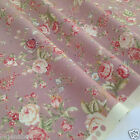 per 1/2 metre/FQ PINK vintage floral dressmaking/craft fabric 100% COTTON