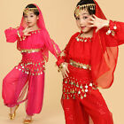 Kids Girls Long Sleeve Belly Dance Costume Outfit 3 Colors 4 Sizes