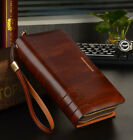 Men's Cowhide Wrist Clutch Handbag Checkbook Organizer Wallet Briefcase New