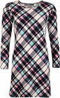 New Womens Crepe Check Tartan Print Swing Short Mini Dress Ladies Long Top 8-14