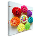 Multi Colour Cupcakes Canvas art Cheap Print Wall Art sq