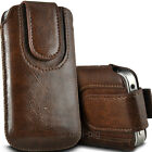 BROWN (PU) LEATHER MAGNETIC BUTTON PULL TAB POUCH FOR A RANGE OF MOBILES