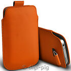 ORANGE (PU) LEATHER PULL TAB POUCH CASE FOR MAIN RANGE OF MOBILE PHONES