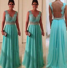 Women Sexy Lace Bridesmaid Party Prom Ball Gown Evening Long Dress Chiffon Dress