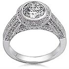 Sterling Silver Round Clear CZ Wedding Engagement Dome Style Love Ring Size 3-11