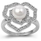 Sterling Silver Genuine Pearl Clear CZ Romantic Love Rose Flower Ring Size 3-11
