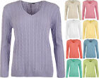 New Womens Plus Size Cable Knit Long Sleeve V Neck Sweater Top Ladies Jumper