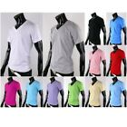 Mens Womens Plain Blank Vneck Short Sleeve Tshirts Basic Top Tee Cotton Casual