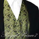 OLIVE GREEN Paisley Tuxedo Suit Dress Vest Waistcoat Wedding Party Prom