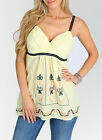 Women top Yellow embroidery Halter Tshirt  blouse S M