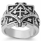 Stainless Steel Biker Tribal Cross Square Shape Wide Band Lucky Ring Sizes 9-16