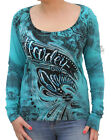 Harley-Davidson Womens Distressed Foil Paisley Teal Scoop Long Sleeve T-Shirt