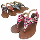 Womens Floral Animal Gladiator Sandals T-Strap Thong Slingback Summer Flat Shoes