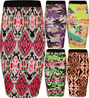 New Womens Print Stretch Elasticated Ladies Knee Midi Bodycon Pencil Skirt 8-14