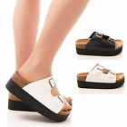 LADIES WOMENS WEDGES FOOTBED SANDALS FLATFORMS PLATFORMS HOLIDAY SHOES SIZE