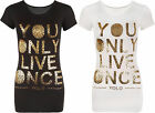New Womens Slogan Text Leopard YOLO Print Short Sleeve Top Ladies T-Shirt 8-14