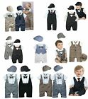 Baby Pageant Tuxedo Suit & Hat Set, Wedding Christening Formal Newborn-24M NEW