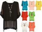 New Womens Plus Size Sheer Chiffon Lined Plain Necklace Short Ladies Button Top