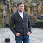 100% Irish Merino Wool Mens Aran Shawl Collar Sweater Cardigan Westend Knitwear