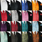 NEW Men's Paisley Design Dress Vest and Neck Tie Hankie Set For Suit or Tuxedo