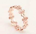 18KGP Rose Gold Titanium Stainless Steel 316L Hollow out Clovers Ring and Band