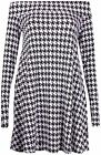 Womens Dogtooth Check Printed Ladies Off Shoulder Swing Flared Long Dress Top