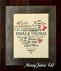 Personalised  Wedding Print Word Art Gift Marriage Anniversay UNFRAMED P21