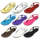 Women T-Strap Thong Sandals Slingback Gladiator Flip Flops Stye Flat Beach Shoes