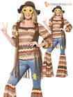 Ladies Hippy Fancy Dress Costume Womens 70s Flower Power Flares Waistcoat Outfit