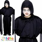 KIDS BLACK SCREAMER GHOST ROBE - all ages 4-12 years - halloween fancy dress