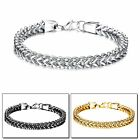 Stainless Steel Silver Gold Black Square Franco Link Chain Mens Womens Bracelet