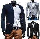Winter New Stylish Mens Slim Fit Knit Two Button Suit Coat Jacket Casual Blazers