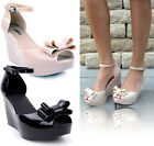 LADIES WOMENS WEDGE JELLY SANDALS SUMMER HIGH HEEL PLATFORMS OPEN TOE SHOES SIZE