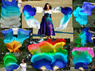 1 pair sturdy blue~various colors 1.5m*0.9m belly dance silk fan veils+carry bag