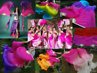 1 pair sturdy pink~various colors 1.5m*0.9m belly dance silk fan veils+carry bag