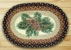 Pinecone Bough & Red Berry Oval Braided Placemat 100% Natural Jute
